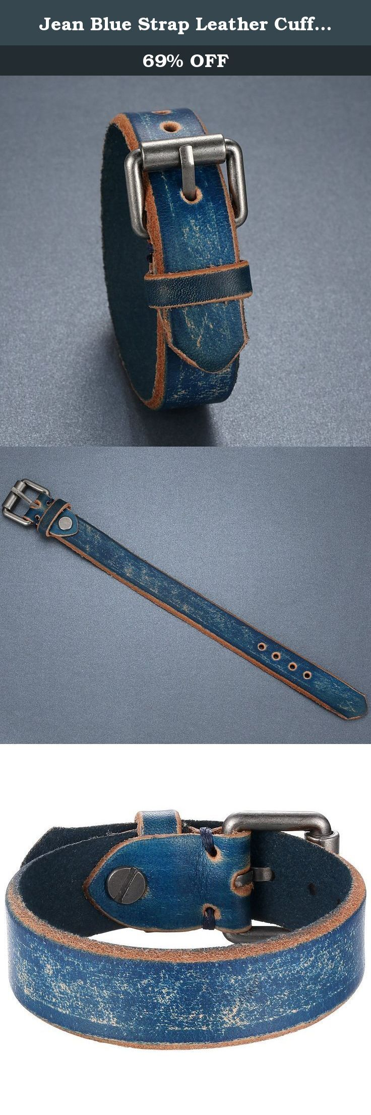 Jean Blue Strap Leather Cuff Bracelet, Ajustable, Belt Style, Unisex, llb020la. Each leather bracelet will be unique in color. Individual characteristics of leather are exclusive to every single hide. The hideÕs final color may vary in color, tone and darkness. Over time the leather will appear rustic as the hide embraces a patina that is unique to the wearer. Daily activities including sun exposure, handling, water will aid this natural process.