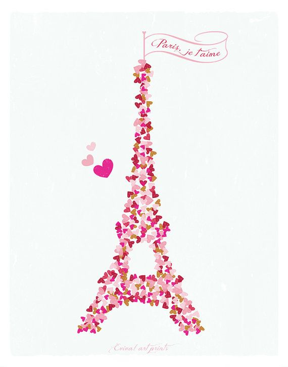 Paris Je t'aime  Paris France Art Print  Tour Eiffel  by evivart, $25.00: