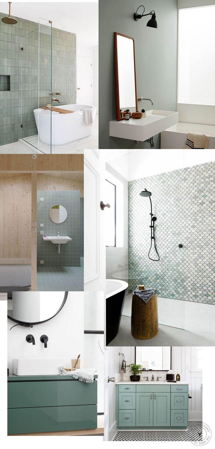 SAGE GREEN BATHROOM IDEAS + INSPO | Green tile bathroom ...