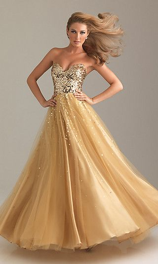 2012 NIGHT MOVES - Strapless gold sweetheart ball gown with sequin embellished bodice (reception gown idea) - $378