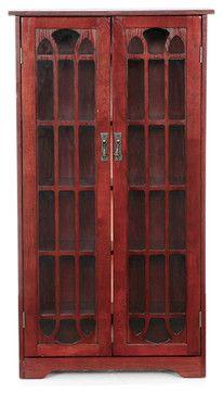 Grayson Window Pane Media Cabinet, Cherry - contemporary - Media Storage - Shop Chimney
