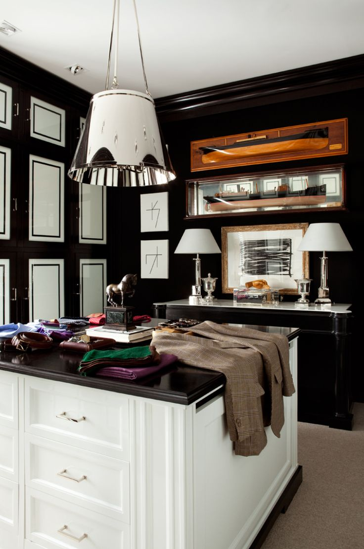 Luis Bustamante Walk In Closet With Floor To Ceiling Glossy Black U0026 White  Cabinets, White Closet Island With Wood Top, Black Buffet With Marble Top  And ...