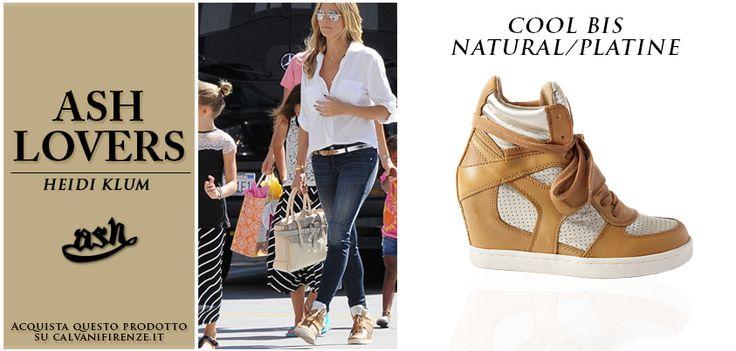 #HeidiKlum indossa le trendy #sneakers con zeppa di #Ash Cool, abbinandole a un look casual chic!