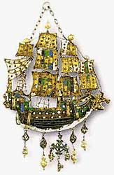 Gold pendant from Patmos, Three-masted caravel with open sails decorated with coloured enamels and pearls. Such jewellery, worked by Greek craftsmen probably in Venice from Western designs, was worn in the Dodecanese and Cycledes islands during the 17th and 18th centuries. 17th-18th century.  Athens Benaki Museum