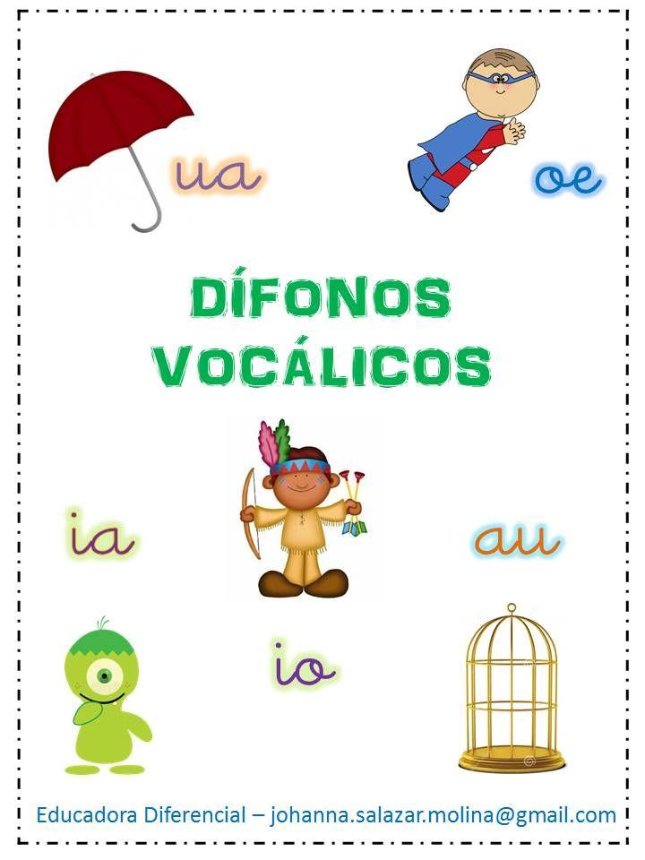 dífonos vocálicos material iniciación a la lectura.