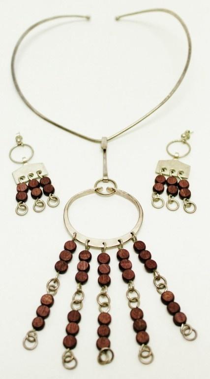 Norway - Anna Greta Eker Sterling & Wood Necklace Set