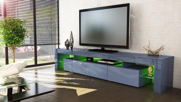 Tv Stand Lima V3 Grey High Gloss In 2020 Tv Stand Unit
