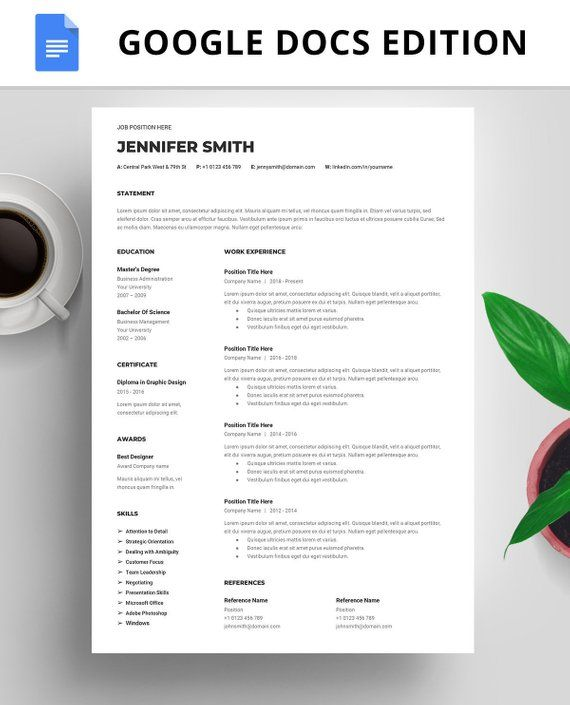 Professional Resume Template Google Docs, Instant Download, Google