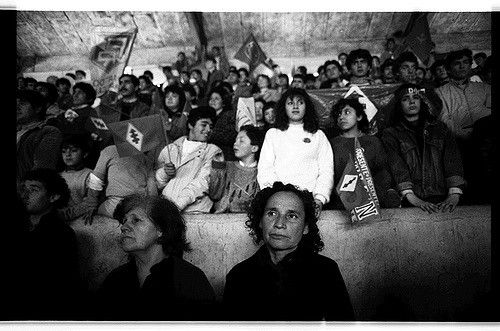 https://flic.kr/p/5nnT4 | The Miner's Wives and kin, Lota, Chile, 89 | Political rally.