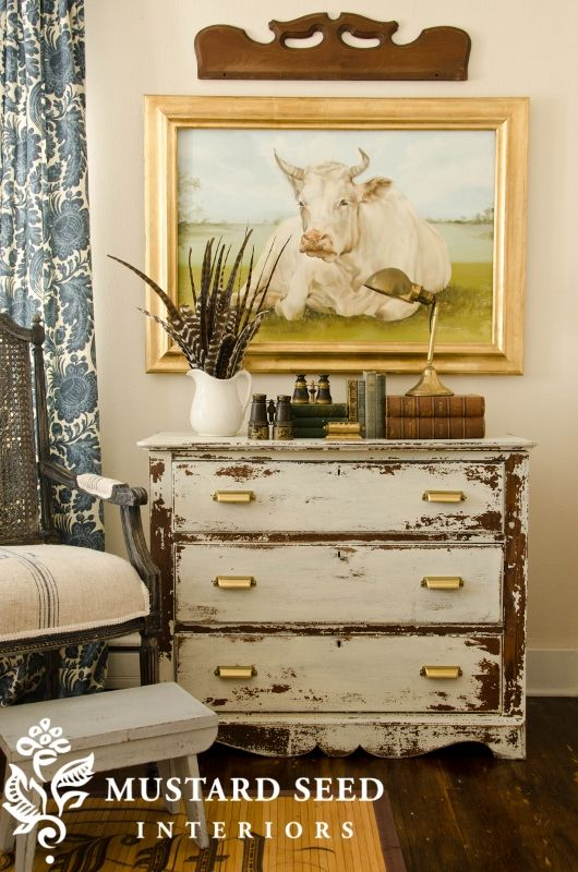 Love the distressed dresser!