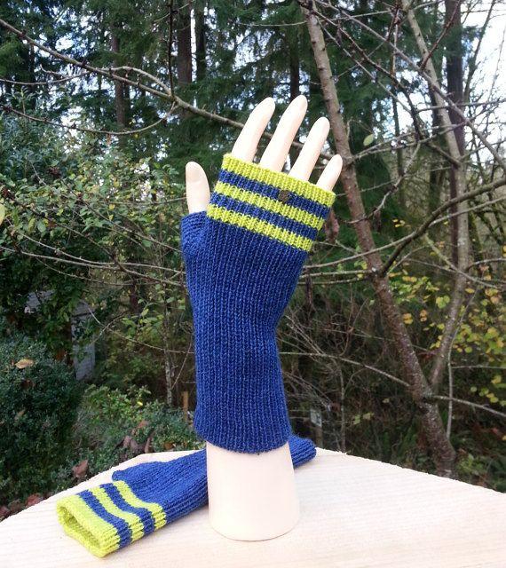 Hand made Fingerless Dark Blue Mittens. Two by AnnKnittingShop