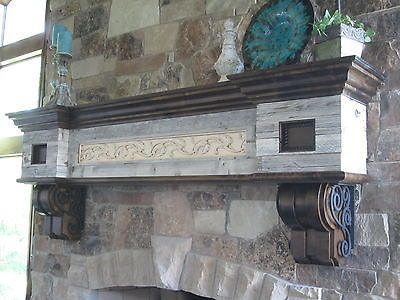 Rustic Vintage Mantel Barn Wood Corbels Antiqued Craftsman Wrought Iron  Country   64 Best Fireplace Images