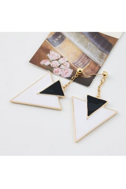 The earrings crafted in alloy, featuring triangle pendant, contrast colored design. It makes you more fashion this summer.$21