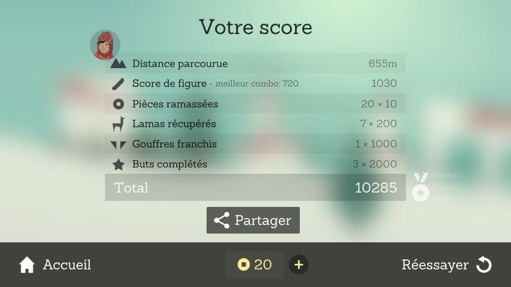 Alto Runner Smartphone Score Screen