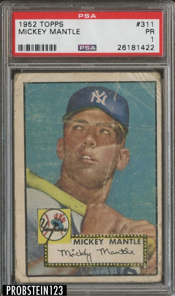 1952 Topps 311 Mickey Mantle New York Yankees Hof Psa 1 Iconic Card Mickey Mantle Baseball Cards Mickey