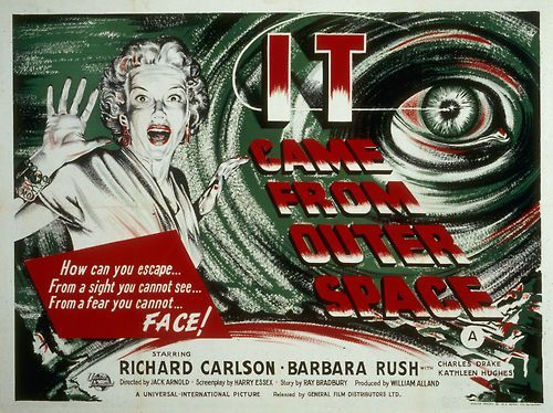 IT CAME FROM OUTER SPACE poster that uses  the studio still of Kathleen Hughes.