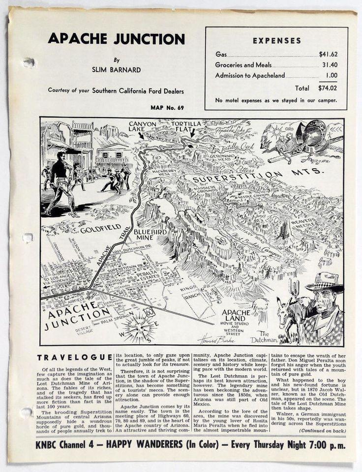 1960's APACHE JUNCTION AZ Happy Wanderers Travelogue MAP Slim Barnard Mines