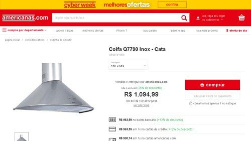 [Americanas.com] Coifa Q7790 Inox - Cata - de R$ 1.289,80 por R$ 963,59 (25% de desconto)