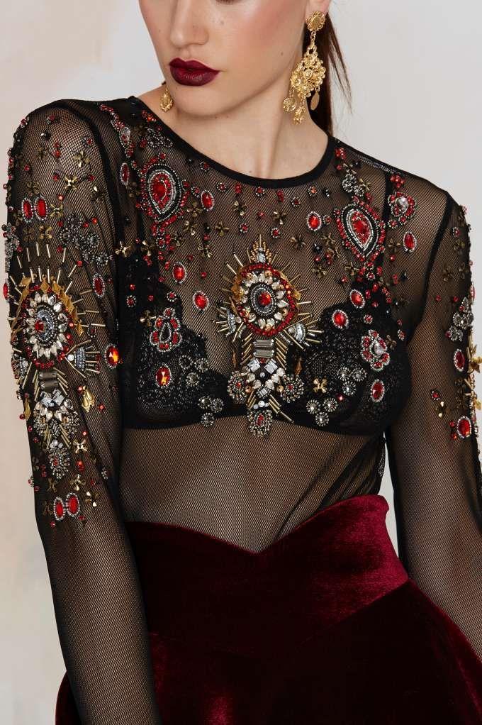 Nasty Gal Show Off Beaded Mesh Bodysuit - Clothes | Best Sellers | Dark Romance | Dark Romance | Bustiers + Bodysuits | Tops
