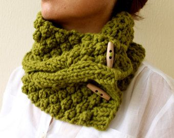 Chunky Scarf Lemongrass Green St. Patricks Day Circle Scarf Hand Knit Cable Cowl