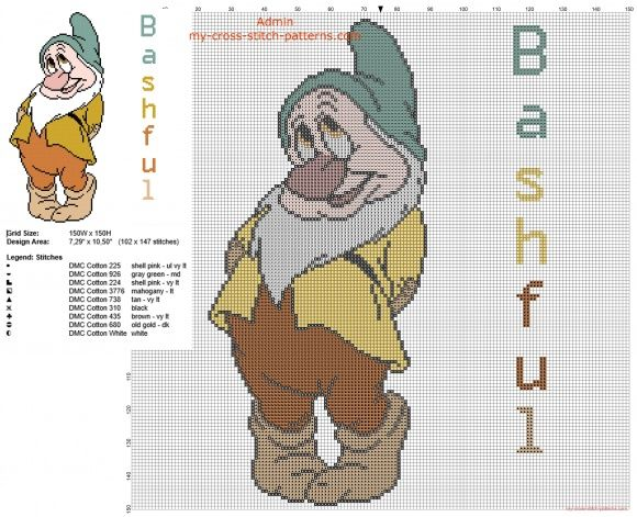 Bashful Dwarf from Disney Snow White and the seven dwarfs cross stitch pattern