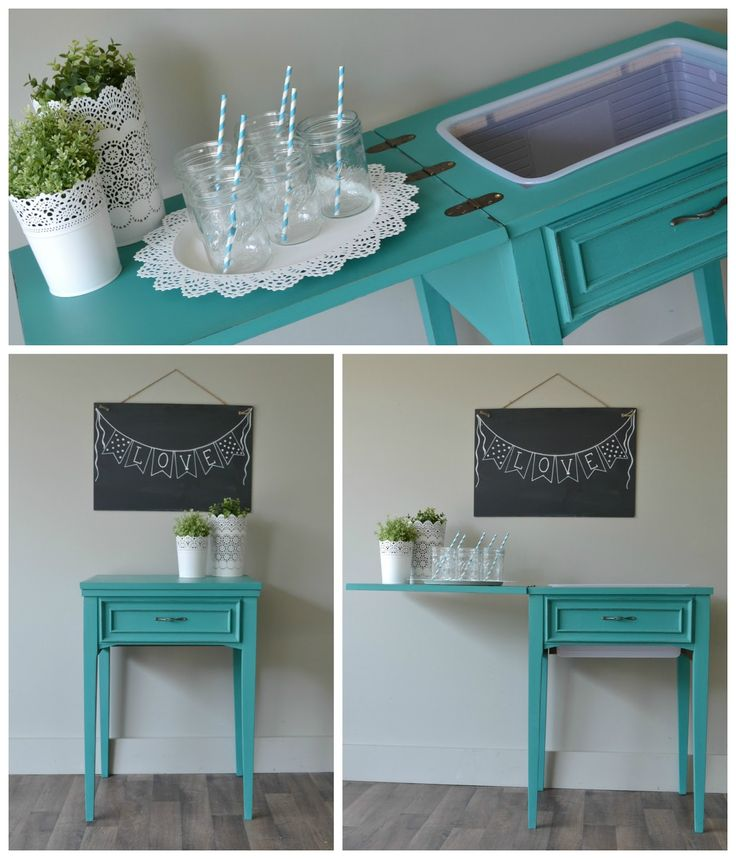 Old sewing machine cabinet turned drink cooler and serving side table.