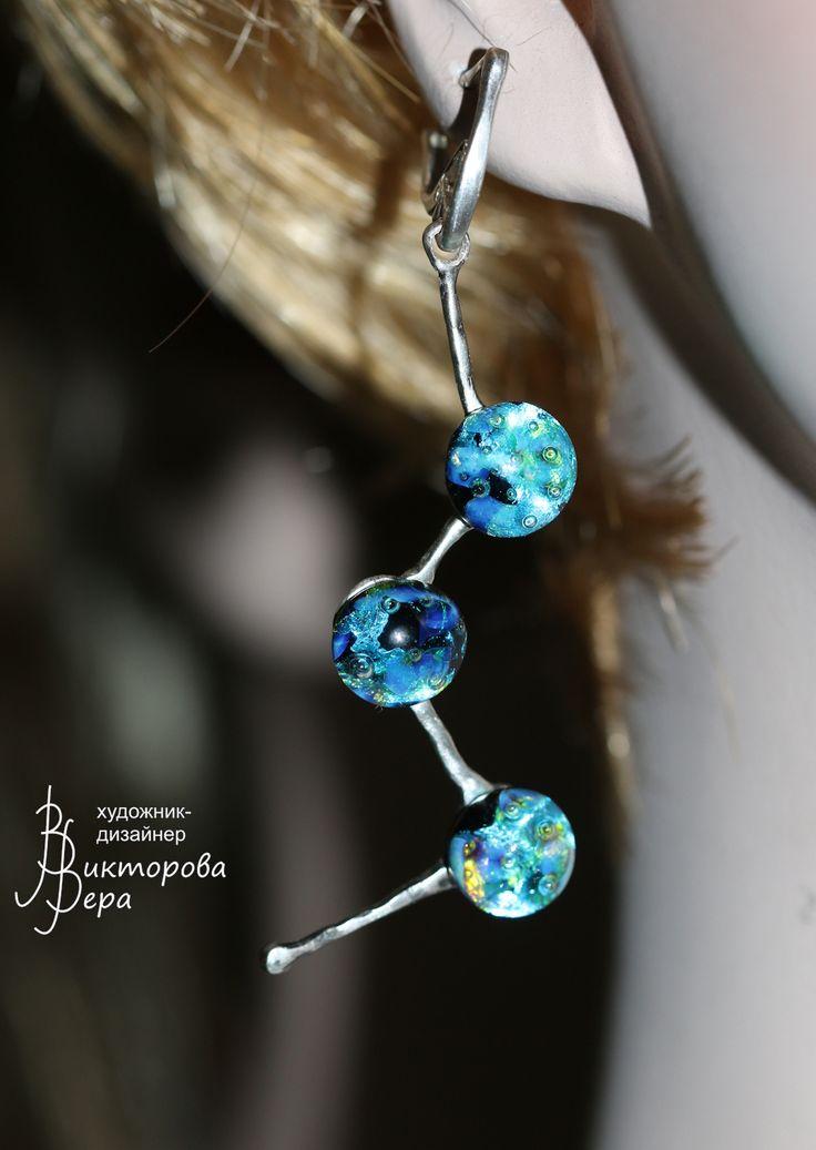 "Earrings . ""constellation Cassiopeia"". Handmade silver and handmade lampwork. Серьги ""Созвездие Кассиопеи"". Авторское серебро и стекло"