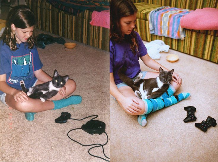 Photo recreation of girl with her 17 year old cat (1997 vs 2011)