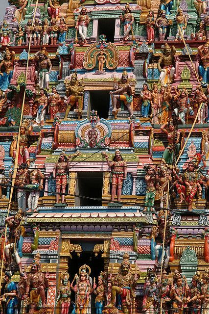 Hindu Temple in Colombo, Sri Lanka. Gram said pics can't do this justice, it's stories and stories high and the colors are so bright.