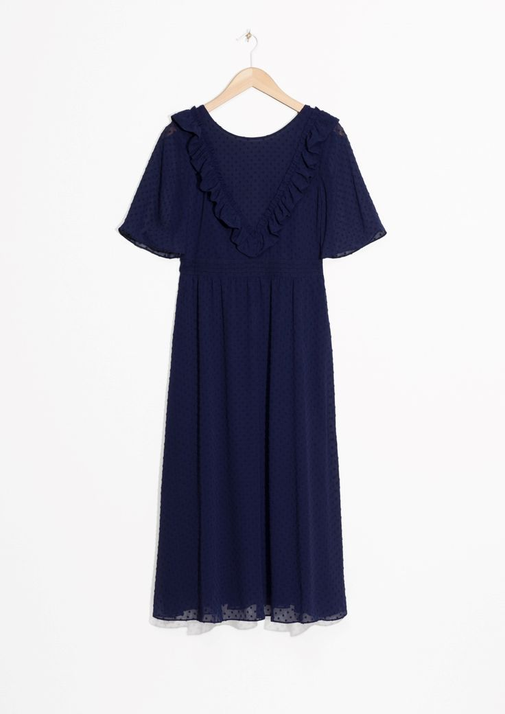 & Other Stories image 1 of Open Back Dotted Jacquard Dress in Blue