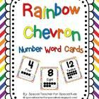 Rainbow Chevron Number Signs 0-20 written number words and ten frame $