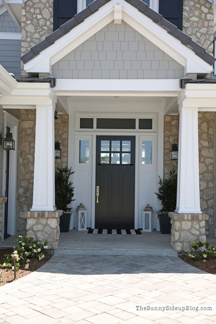Exterior front doors with sidelights - Black Front Door With White Sidelights And Transom