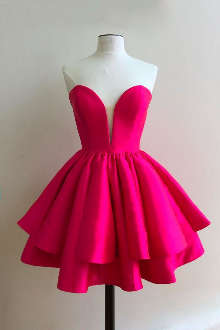 Simple Sweetheart Rose Red Homecoming Dress,A Line Homecoming Dress with Ruffles,Short Red Prom Dress