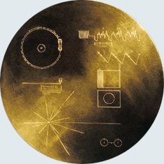 """The Golden Record flying through space on Voyager: """"...intended to communicate a story of our world to extraterrestrials..."""""""