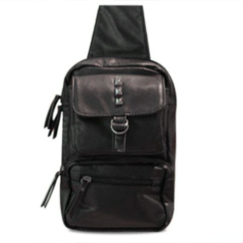 Trendy Belt and Rivets Design Men's Messenger Bag - BLACK