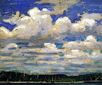 """Summer Day"", 1916, Tom Thomson, oil on panel, 8.5 x 10.55 in., 21.6 x 26.8 cm., Ontario, Canada. McMichael Canadian Art Collection."