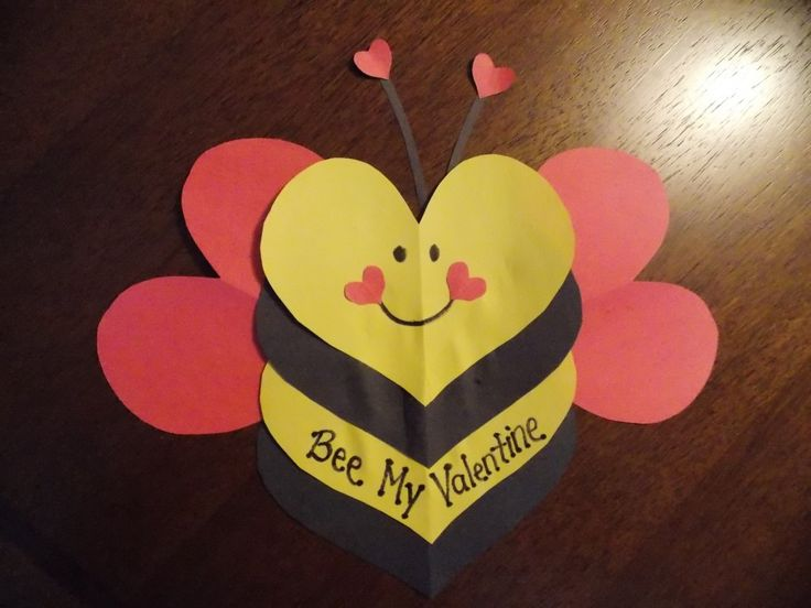 Bee My Valentine: Craft Idea for Kids - made up of 6 hearts. Perfect classroom Valentine. Perfect project for a bee themed class room.  Mother's 4th graders made these for their parents :-)