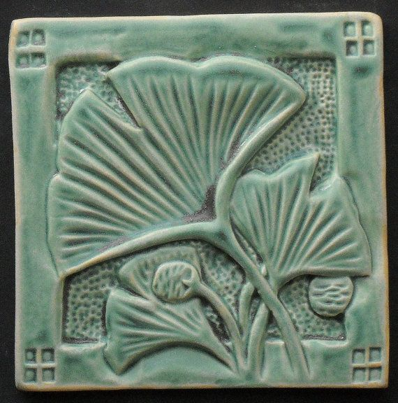 SALE Arts and Craft Style Gingko Green Matte Tile,  4, handmade, porcelain, (backsplash, bathroom, interior or exterior installation) via Etsy