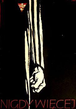 By Zbigniew Kaja (1924-1983), Never again!, Nigdy więcej!, political poster.