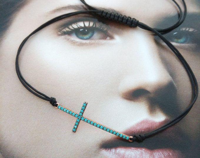 Cross bracelet macrame with turquoise zircons, cross macrame bracelet, cross macrame rose gold plated silver 925 bracelet, gift for her