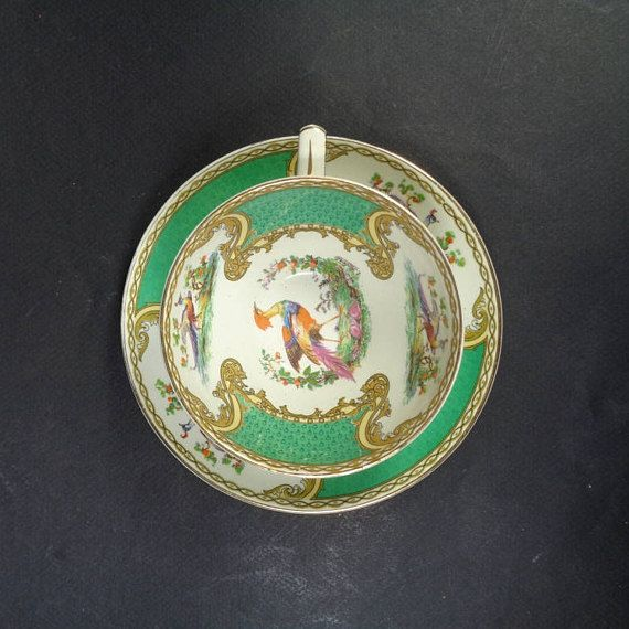 Myott Staffordshire Chelsea Bird Green Cup & Saucer Signed A. Robert, Myott And Sons England - 1930s English Teacup Tea Cup Coffee Cup and Saucer- Green and White with gold gilt, bird in center of cup - Early 20th Century China Teacup