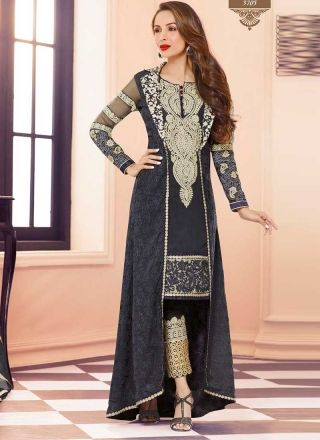 Exclusive Grey Embroidery Work Georgette Party Wear Anarkali Suit http://www.angelnx.com/Bollywood