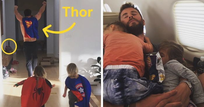 If you follow Chris Hemsworth's wife, Elsa Pataky, on social media, you're probably aware of how great of a father he is to his 4-year-old daughter India Rose and 2-year-old twin boys Sasha and Tristian. I mean, the man is definitely dad goals. And we've got pics to prove it!