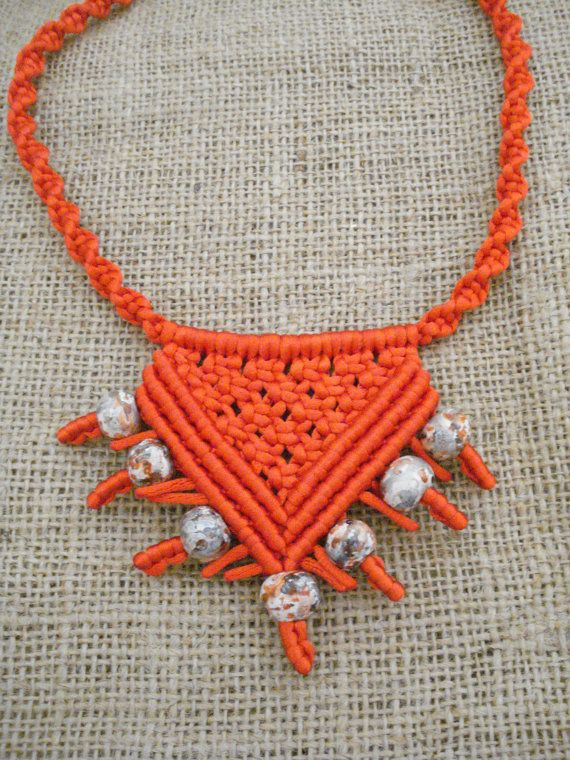 Ethnic necklace Red macrame necklace Bohemian jewerly by Poppyg