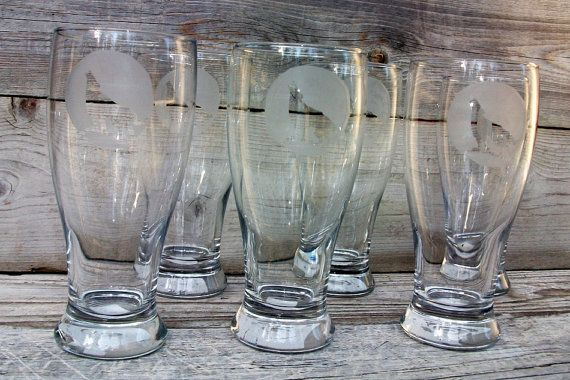 PILSNER glasses 14-16 oz Etched Beer glasses Wolf Southwestern howling moon