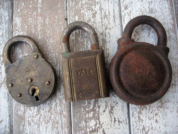 Vintage padlocks set of three Yale locks by LittleBeachDesigns