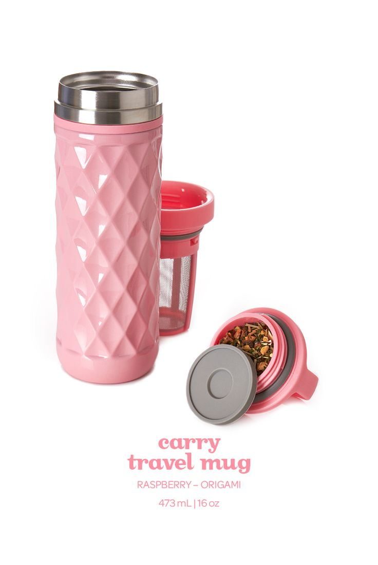 Steep on the go with this berry pink leakproof travel mug.
