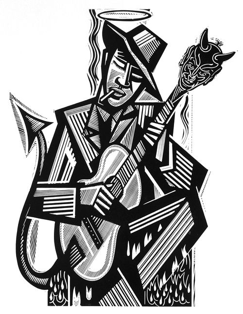 hellhoundonmytrail:    Robert Johnson by Stephen Alcorn Relief-block print (2005)