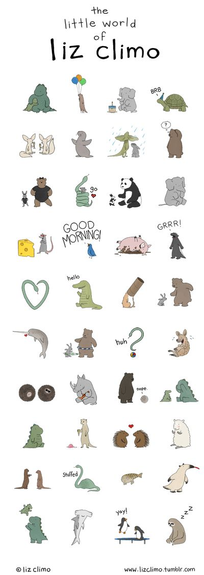 …and here they are! I am happy to announce that the Cubie Messenger app now has a Liz Climo sticker pack! Send your pals a Rory! Or a rhino playing a ukelele! Or a bunny dancing with his best bro the bear! There are 40 animated emojis total, and the sticker pack is just $1.99 (Available worldwide on iPhone, PC/MAC, or google play) Click HERE to download the Cubie app for FREE via your phone!