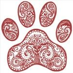 Like the idea of a paisley paw print, using the actual paw outline of my dog though.